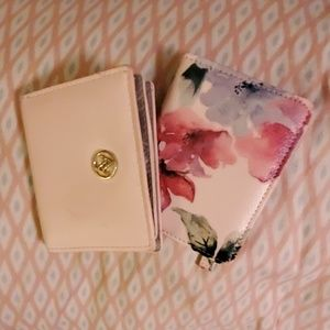 Set Of Pink Leather and Floral Folding Wallets
